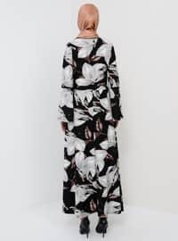 White - Ecru - Black - Floral - Crew neck - Unlined - Dress
