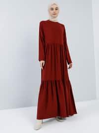 Bordo - Yuvarlak yakalı - Astarsız kumaş - Viskon - Elbise