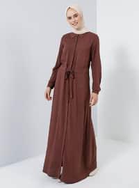 Kahverengi - Fransız yaka - Astarsız kumaş - Viskon - Elbise