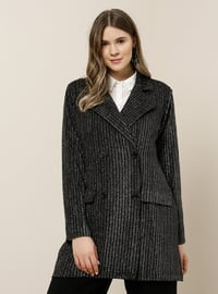 Silver tone - Black - Stripe - Shawl Collar - Fully Lined - Plus Size Jacket