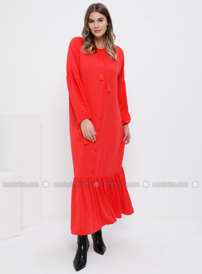 Coral - Unlined - Crew neck - Plus Size Dress