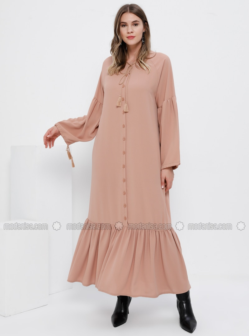 Nude - Unlined - Crew neck - Plus Size Dress