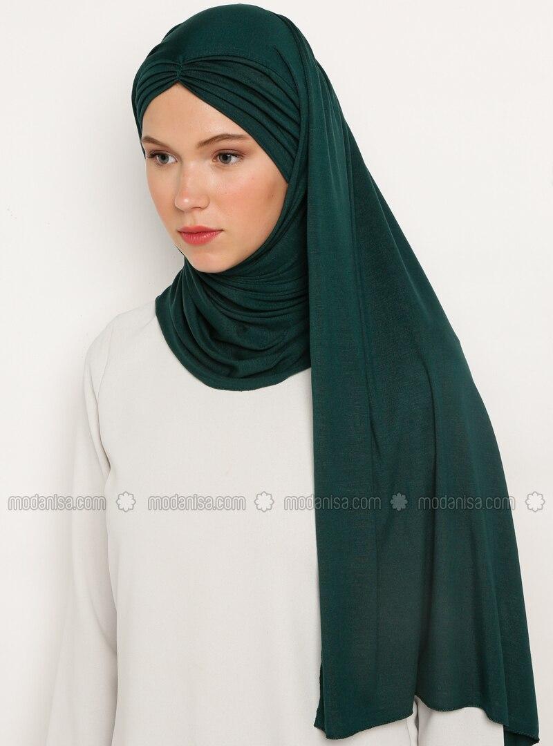 Green - Emerald - Plain - Viscose - Instant Scarf