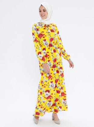 Yellow - Floral - Crew neck - Unlined - Dress