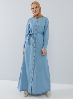 Blue - Crew neck - Unlined - Denim - Cotton - Dress