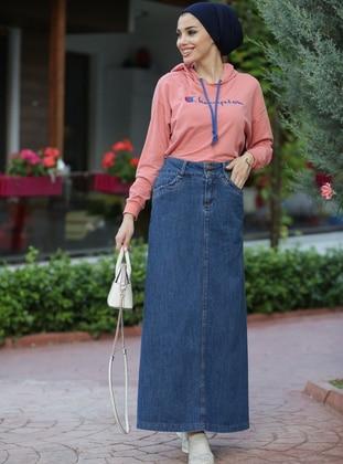 Blue - Unlined - Plus Size Skirt