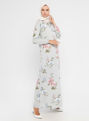 Gray - Floral - Crew neck - Unlined - Dress