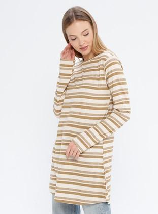 Mustard - Stripe - Crew neck -  - Tunic