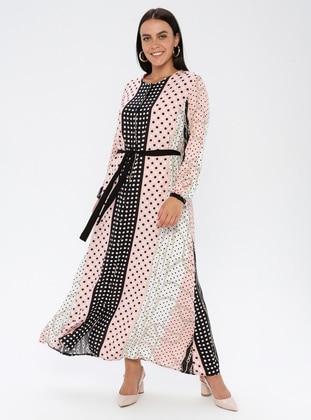 Pink - Multi - Unlined - Crew neck - Viscose - Plus Size Dress