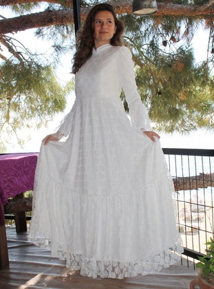 White - Unlined - Crew neck -  - Muslim Evening Dress