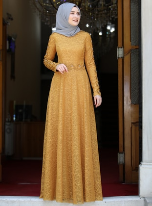 Mustard - Fully Lined - Crew neck - Muslim Evening Dress