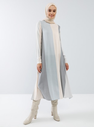 Beige - Blue - Stripe - Crew neck - Viscose - Tunic