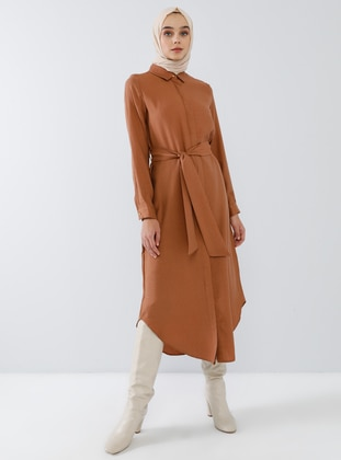 Bronze - Point Collar - Unlined - Viscose - Dress