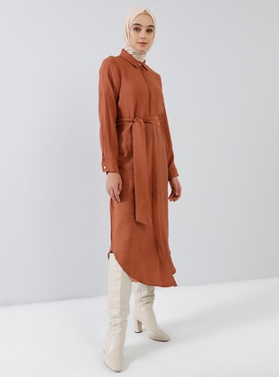 Terra Cotta - Point Collar - Unlined - Viscose - Dress