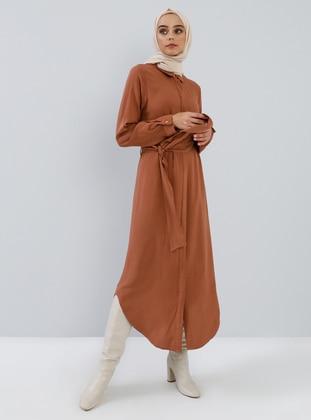 Cinnamon - Point Collar - Unlined - Viscose - Dress
