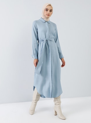 Blue - Point Collar - Unlined - Viscose - Dress