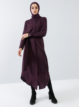 Plum - Point Collar - Unlined - Viscose - Dress