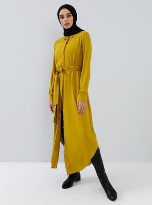 Mustard - Point Collar - Unlined - Viscose - Dress