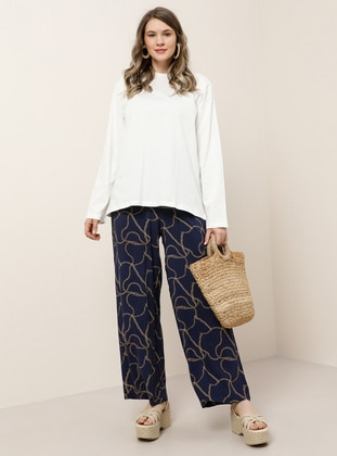Navy Blue - Multi - Unlined - Viscose - Plus Size Pants- Alia