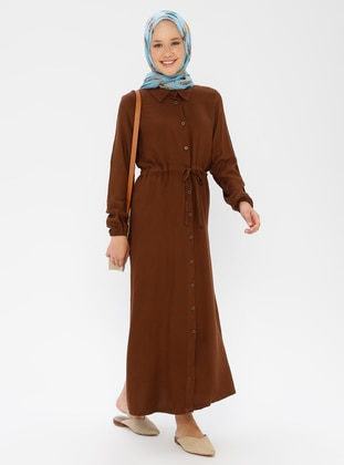 Brown - Point Collar - Unlined - Dress