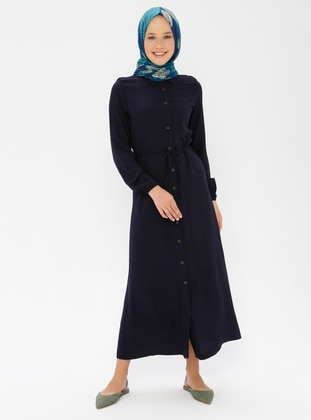 Navy Blue - Point Collar - Unlined - Dress