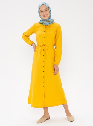 Yellow - Point Collar - Unlined - Dress