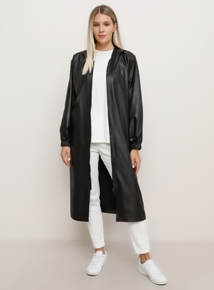 Black - Unlined - Plus Size Coat - Alia
