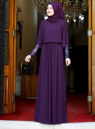 Plum - Fully Lined - Crew neck - Chiffon - Muslim Evening Dress