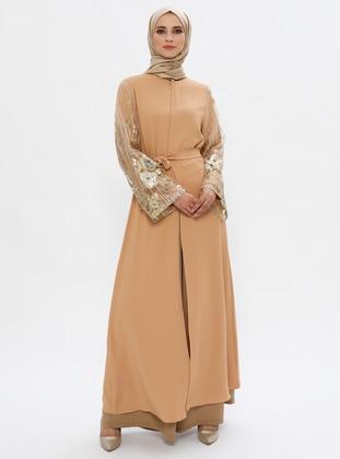 Mustard - Unlined - Button Collar - Abaya