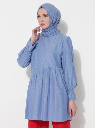 Blue - Point Collar - Cotton - Tunic