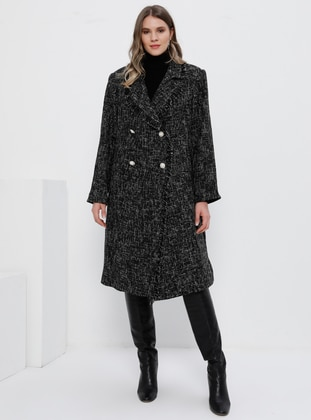 White - Black - Fully Lined - Acrylic -  - Viscose - Plus Size Overcoat - Alia
