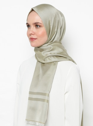 Beige - Green Almond - Plain - Shawl