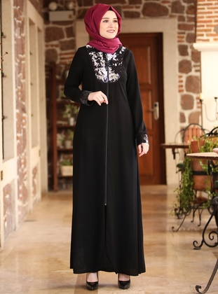 Black - Unlined - Crepe - Abaya