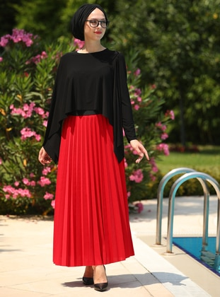 Red - Unlined - Skirt - İnşirah