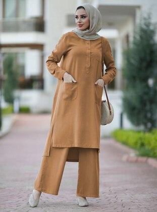 Tan - Unlined - Denim - Cotton - Suit