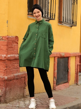 Green - Crew neck - Point Collar - Acrylic - Cotton - Blouses - Por La Cara