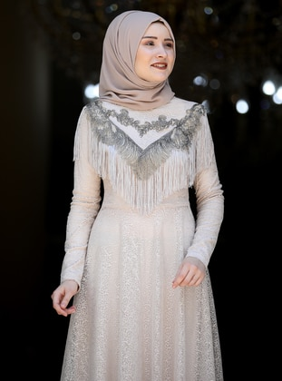 Stone - Fully Lined - Crew neck - Muslim Evening Dress