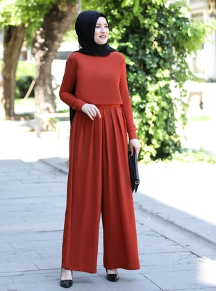 Terra Cotta - Unlined - Crew neck - Crepe - Jumpsuit