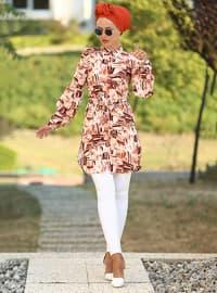 White - Terra Cotta - Multi - Point Collar - Cotton - Tunic