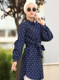 White - Navy Blue - Multi - Point Collar - Cotton - Tunic