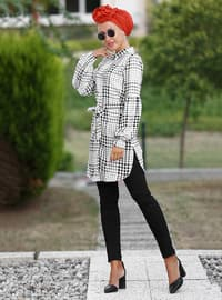 White - Black - Plaid - Point Collar - Cotton - Tunic
