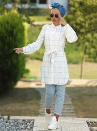 Ecru - Blue - Checkered - Point Collar - Cotton - Tunic