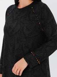Khaki - Unlined - Crew neck - Plus Size Dress