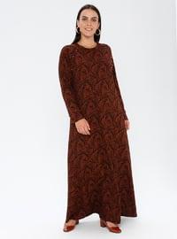 Tan - Unlined - Crew neck - Plus Size Dress