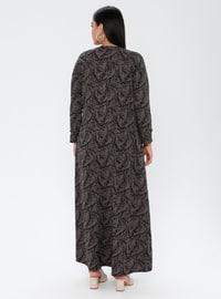 Mink - Multi - Unlined - Crew neck - Plus Size Dress