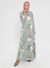 Khaki - Floral - Crew neck - Unlined - Dress