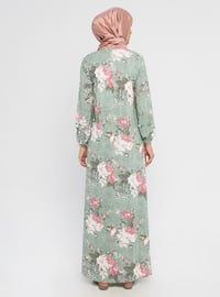 Khaki - Floral - Crew neck - Unlined - Dress