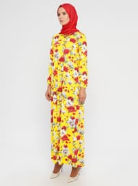 Sarı - Çiçekli - Yuvarlak yakalı - Astarsız kumaş - Elbise
