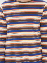 Navy Blue - Stripe - Crew neck -  - Tunic