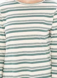 Green - Stripe - Crew neck -  - Tunic